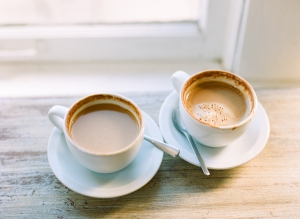White Coffee Cups and Saucers