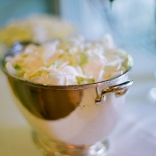 White Flowers in Silver Bowl Reception Decor