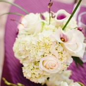White Hydrangea and Lily Centerpiece