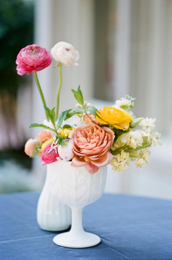 White Milk Glass Vase Centerpiece