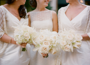 White Rose and Lily Bouquets
