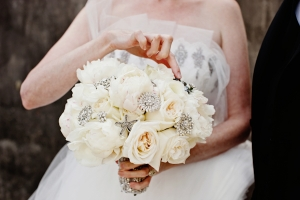 White Bouquet With Crystals