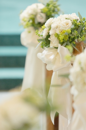 White Rose and Green Berry Floral Arrangement Aisle Decor