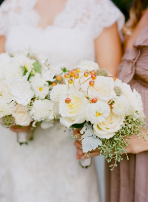 White and Cream Bouquets With Berries