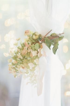 White and Green Hydrangea Reception Decor