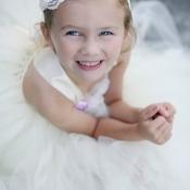 White and Purple Flower Girl Dress