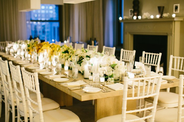White and Yellow Floral Garland Centerpiece on Reception Table 2