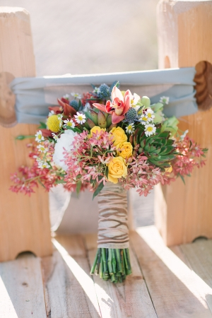 Wildflower Bouquet With Striped Brown Ribbon Wrap