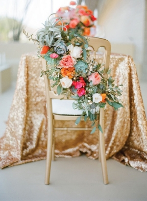 Airplant and Rose Wedding Chair Decor