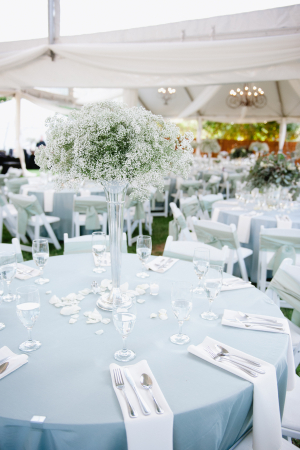 Babys Breath Arrangement in Tall Vase Reception Decor