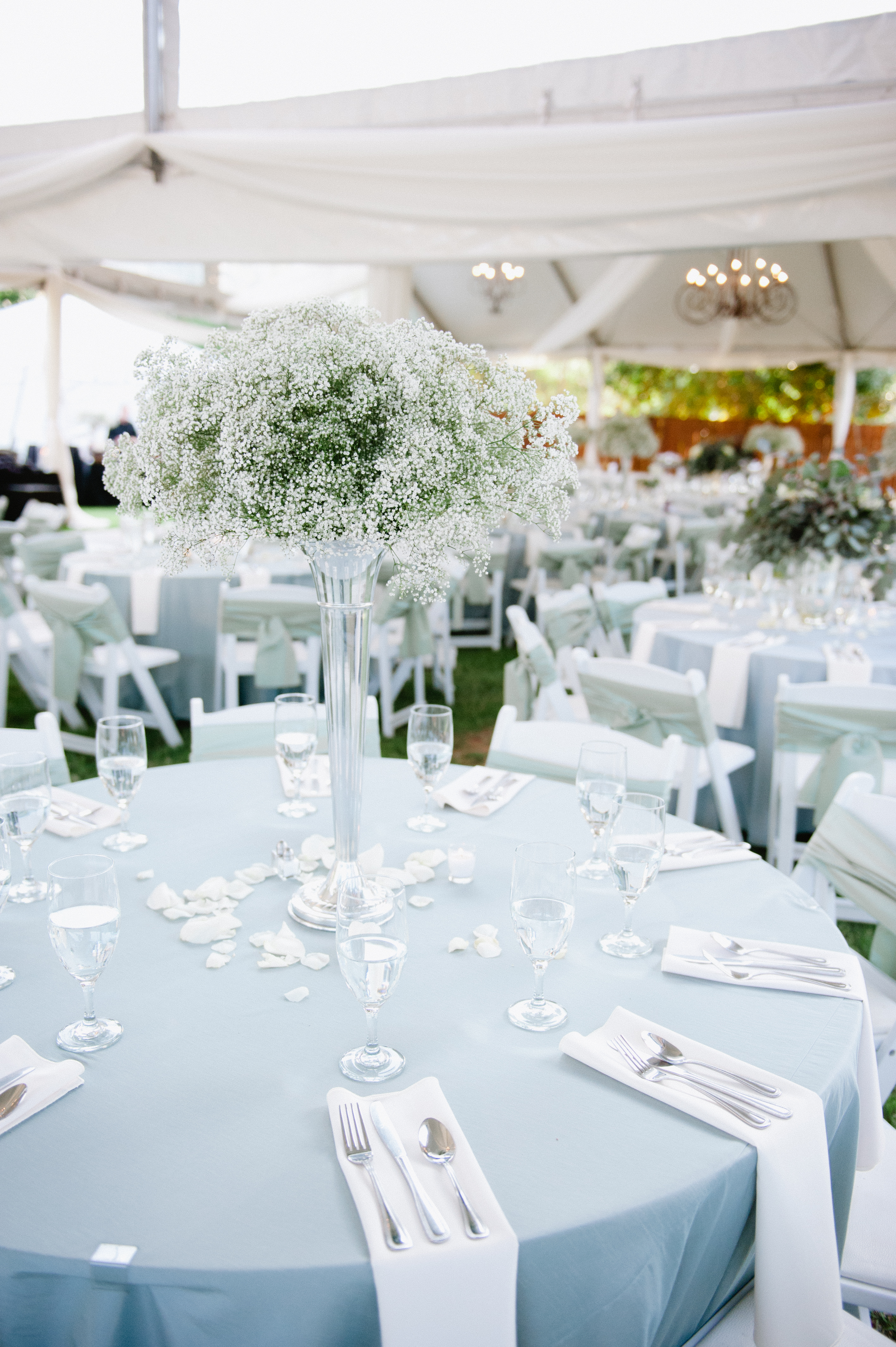 Babys Breath Arrangement In Tall Vase Reception Decor Elizabeth Anne Designs The Wedding Blog