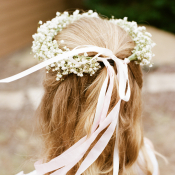 Babys Breath Flower Girl Hair Wreath