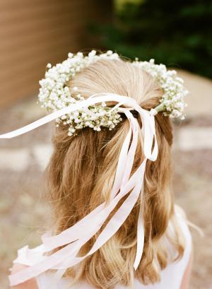 Babys Breath Flower Girl Hair Wreath