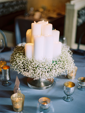Baby's Breath and Candle Centerpiece
