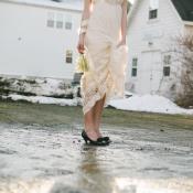 Black Peep Toe Bridal Heels