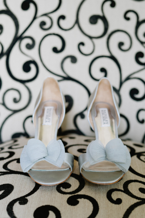 Blue Peep Toe Bridal Shoes With Bows