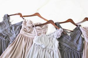 Blue and Gray Chiffon Bridesmaids Dresses