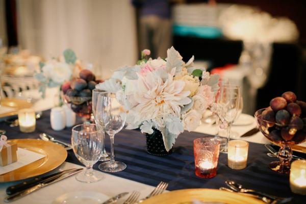 Blush Floral and Dusty Miller Reception Arrangement