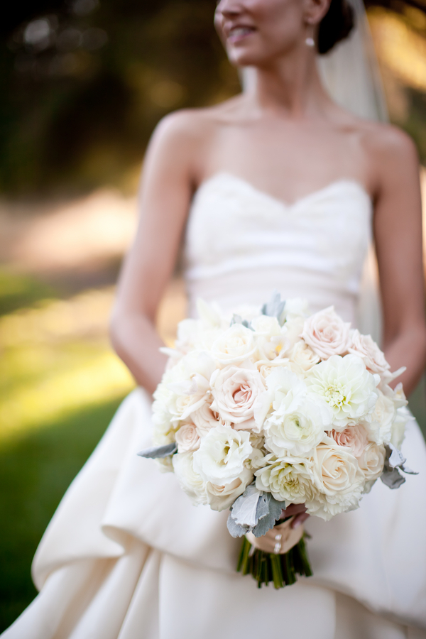 Blush and Cream Bouquet With Dusty Miller