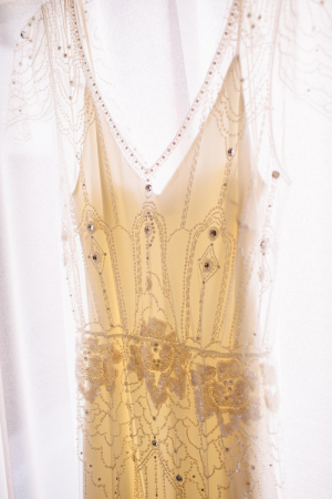 Bohemian Style Wedding Gown With Sheer Overlay