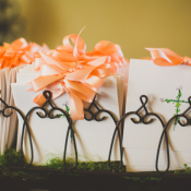Ceremony Programs With Flower Motif and Peach Ribbon