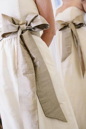 Cream Dupioni Silk Bridesmaids Dress With Champagne Sash