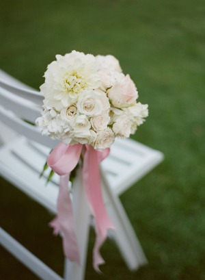 Cream Floral Aisle Decor With Pink Ribbon