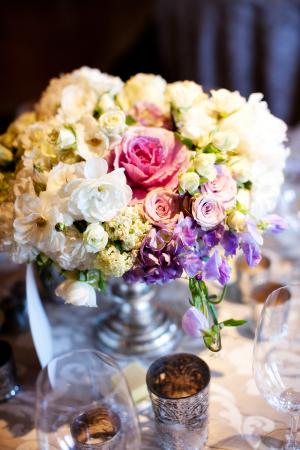 Cream Pink and Lavender Reception Floral Arrangement
