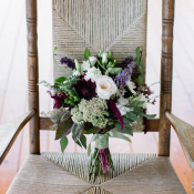 Cream Purple and Green Bouquet Tied With Ribbon