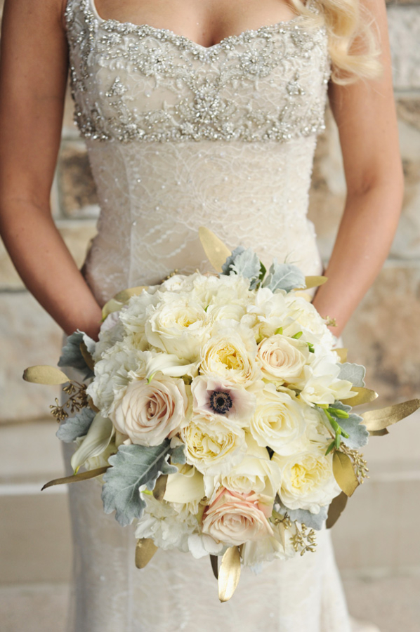 Cream and Blush Bouquet With Dusty Miller