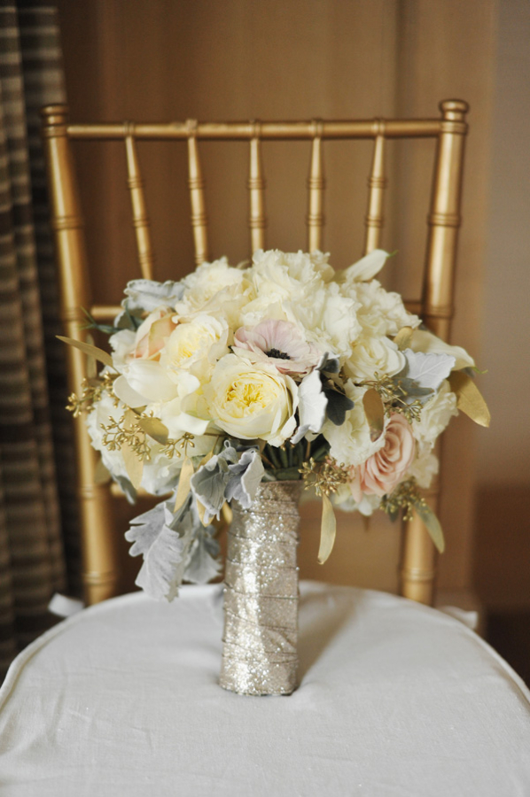 Cream and Blush Bouquet With Gold Sequin Wrap