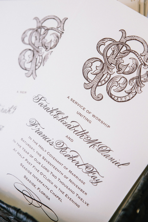 Cream and Brown Wedding Invitation With Intricate Monogram