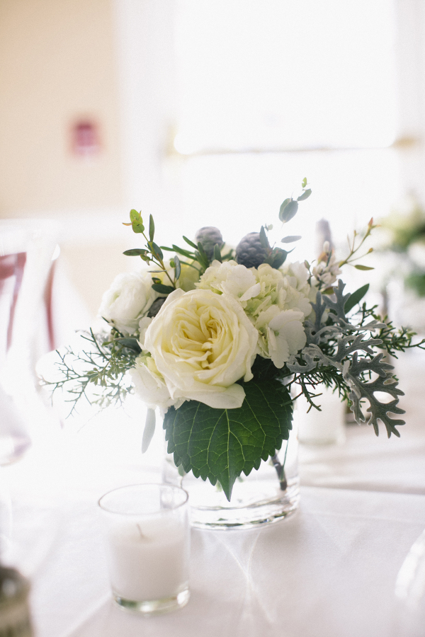 Cream and Green Flowers With Dusty Miller Reception Decor