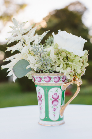 Cream and Green Flowers in Vintage Pitcher