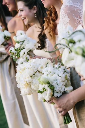 Cream and White Bouquets With Green Berries