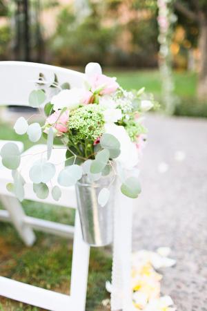 Floral Arrangement in Galvanized Bucket Aisle Decor