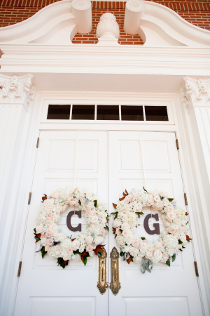 Floral Wreaths With Monograms on Doors
