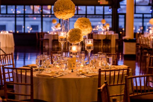 Flower Balls on Glass Vases Reception Decor Ideas