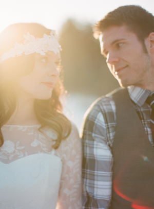 Flower Lace Overlay on Wedding Gown