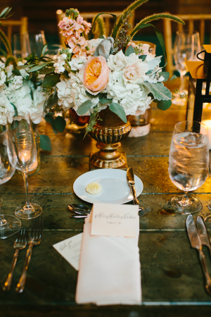 Flowers in Gold Vase Reception Decor