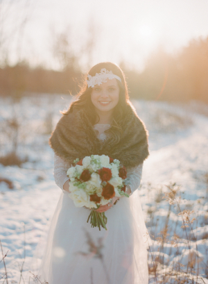 Fur Stole Over Wedding Gown