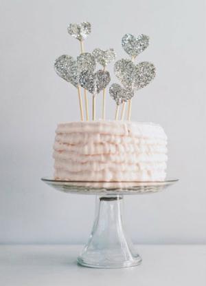 Glitter Heart Cake Topper
