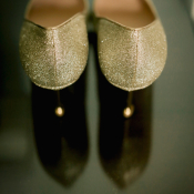 Gold Glitter Bridal Heels