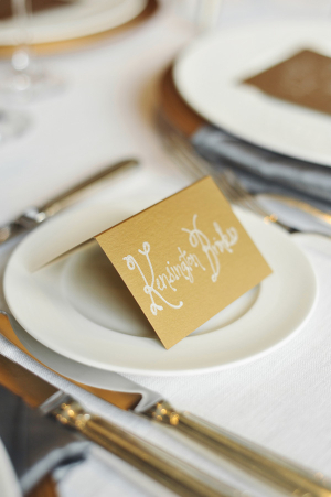 Gold Reception Place Cards