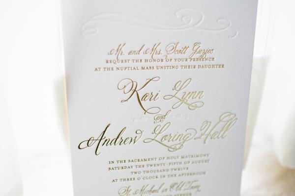 gold and cream letterpress wedding invitation
