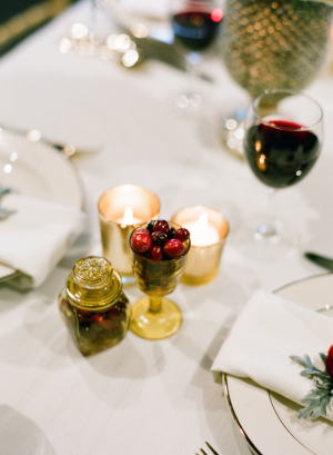 Gold and Red Berry Reception Table Decor