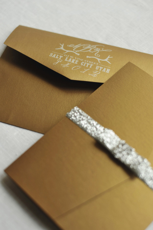 Gold and Silver Glitter Wedding Stationery