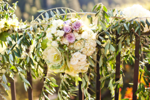 Greenery Garland With Cabbage and Cream Roses Ceremony Decor
