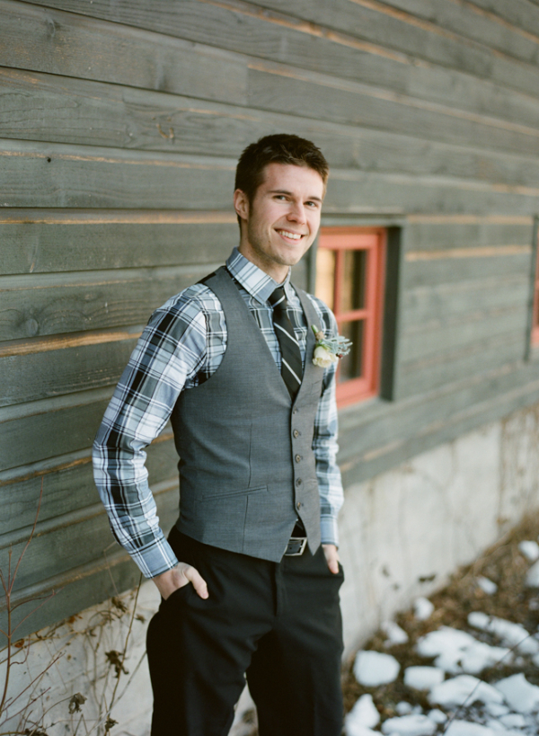 Grooms Plaid Shirt and Vest