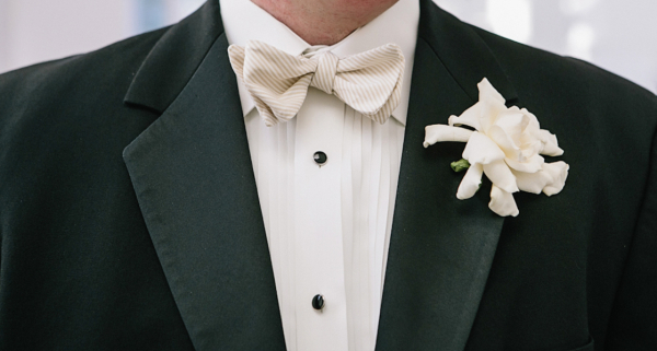 Khaki Striped Bow Tie